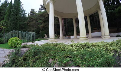 Gazebo in park landscape design - RUSSIA, GURZUF, OCTOBER,...