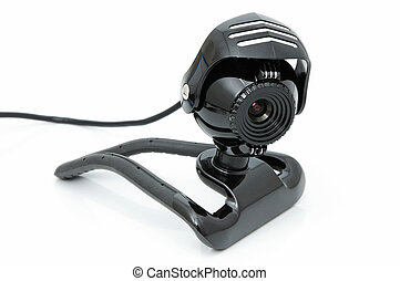 Webcamera for internet video-conference on a white...