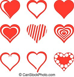 Collection of red hearts, vector illustration