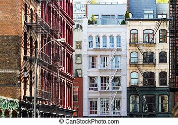 cidade, edifícios, histórico,  SoHo, Novo,  Manhattan,  York