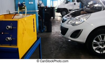 Car auto service: mechanic fixing and repairing detail for automobile, slider