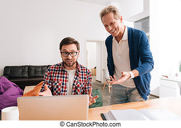 Nice handsome man having problems with his work - How should...