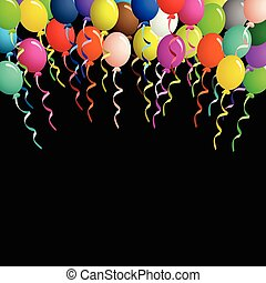 Colorful balloons on ribbons over black background -...
