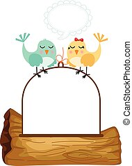 Couple birds in love with speech balloon - Scalable...