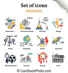 Set of icons on a theme of school subjects