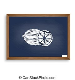 Fruits lemon sign. White chalk icon on blue school board...
