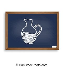 Amphora sign. White chalk icon on blue school board with...