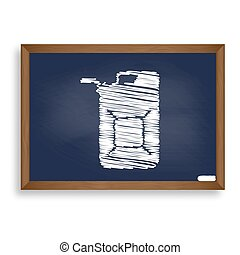 Jerrycan oil sign. Jerry can oil sign. White chalk icon on...