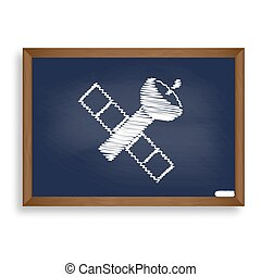 Satellite sign illustration. White chalk icon on blue school...