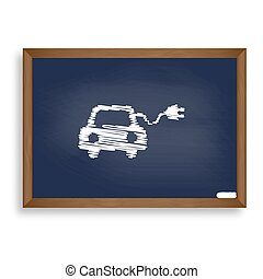 Eco electric car sign. White chalk icon on blue school board...