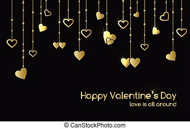 Greeting card for Valentines Day with hanging gold shine hearts