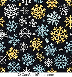 Different vector snowflakes seamless pattern. ice crystal...