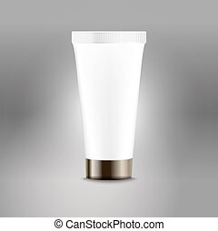 Plastic tube advertising vector template. Cream bottle...