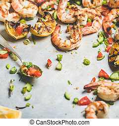 Grilled tiger prawns with lemon and mint salsa, square crop...