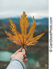 Woman' s hand holding yellow grape leaf with lake and...