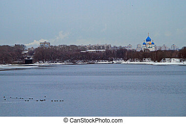Russian Orthodox Church on the riverside of Moskva river -...