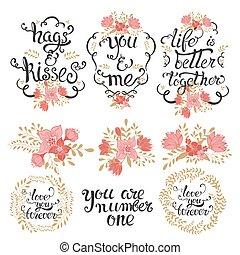 Valentines lettering  floral set