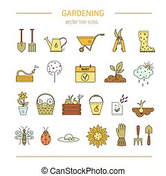 Gardening vector line icons - Vector line icons collections...