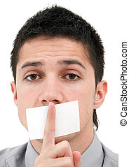 Censored speech - A handsome young man with his finger over...