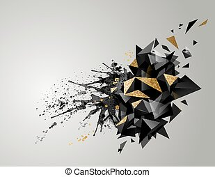 Geometric abstract banner with black color and gold texture. Modern triangular formed by artistic blots.