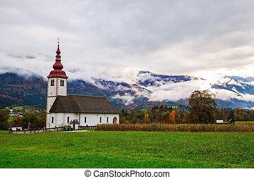 Typical slovenian church in the mountains, near Bohinj lake....