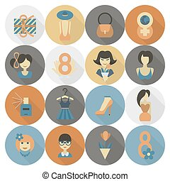 Womans Day Icon Set - Design Elements for International...