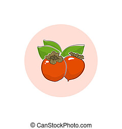 Icon Colorful Persimmon - Persimmon , Round Icon Colorful...