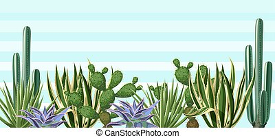 Background with cactuses and succulents set. Plants of...