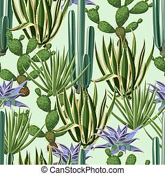 Seamless pattern with cactuses and succulents set. Plants of...