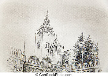 church dominant in the old town, pencil drawing on paper. -...