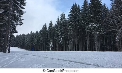 People ride on the track on ski resort - People ride on the...