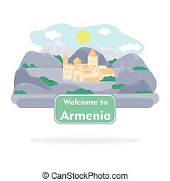 the armenia sign - sign in the style of a flat design on the...