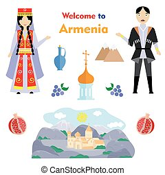 the armenia set - set in the style of a flat design on the...