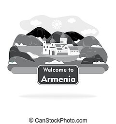 the armenia sign black - sign in the style of a flat design...