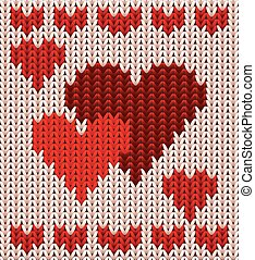 St Valentines day, two knitted hearts, vector illustration