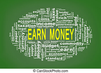 Wordcloud tags of earn money - Illustration of oval shape...