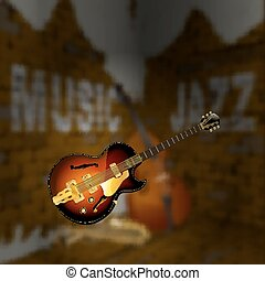Jazz music corner brick wall blurred background -...