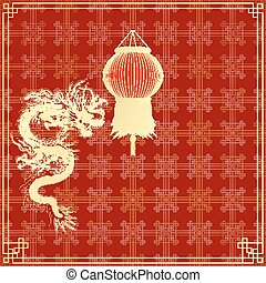golden Chinese dragon on a red background