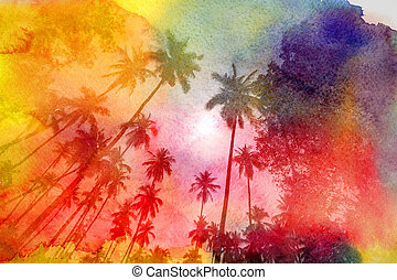 Retro photo of palm trees on a tropical island
