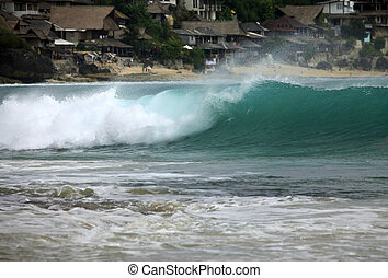 Indian ocean - Big wave crashes on to the shore. Place...