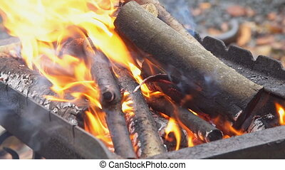 Burning wood and coal in fire wood for barbecue charcoal -...