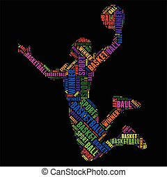 basketball Typography word cloud colorful Vector illustration