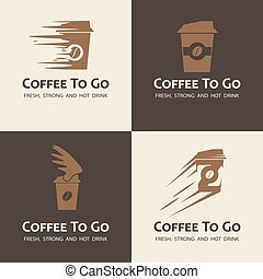 Set of coffee to go labels. Moving coffee cup logos.