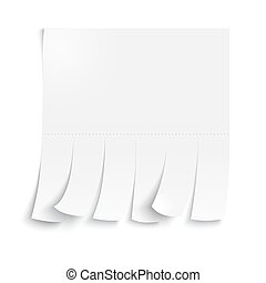 Blank advertisement with cut slips on a white background.