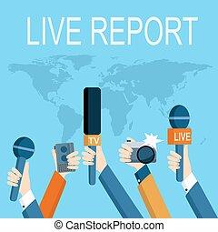 Journalism concept vector - set of hands holding microphones...