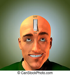 Switch - Expressive man with switch in head