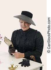 young woman in vintage costume 1900s - young smiling woman...