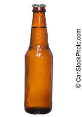 Beer bottle - Stock image of dark beer bottle with silver...