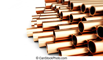 copper pipes. Isolated on White Background. 3D illustration