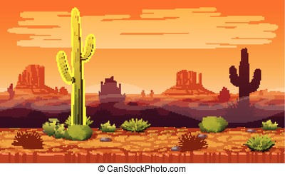Seamless background of landscape with desert and cactus.